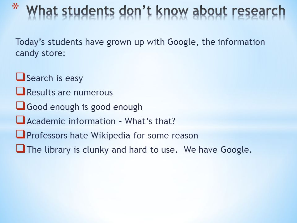 How might a student go wrong in a research question.