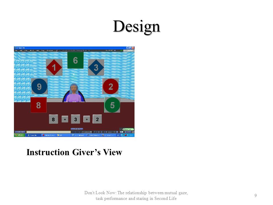 Design Instruction Giver's View 9 Don t Look Now: The relationship between mutual gaze, task performance and staring in Second Life