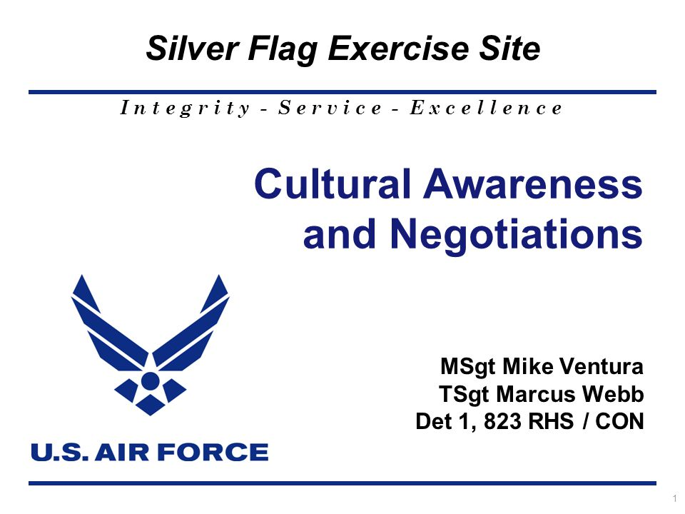 I n t e g r i t y - S e r v i c e - E x c e l l e n c e Overview  Cultural Awareness  Negotiations References  Airman's Manual AFMAN 10-100, 1 June 2004  Pages 7 and 8  https://www.auab.centaf.af.mil/