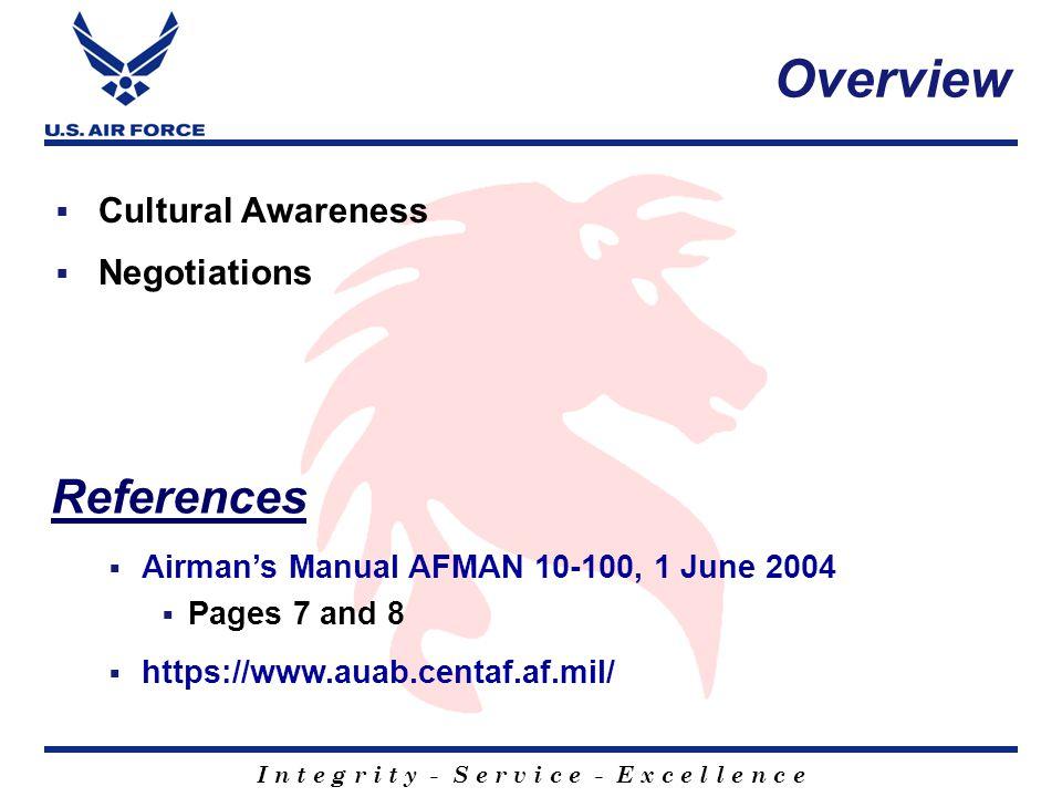 I n t e g r i t y - S e r v i c e - E x c e l l e n c e Questions on Cultural Awareness?