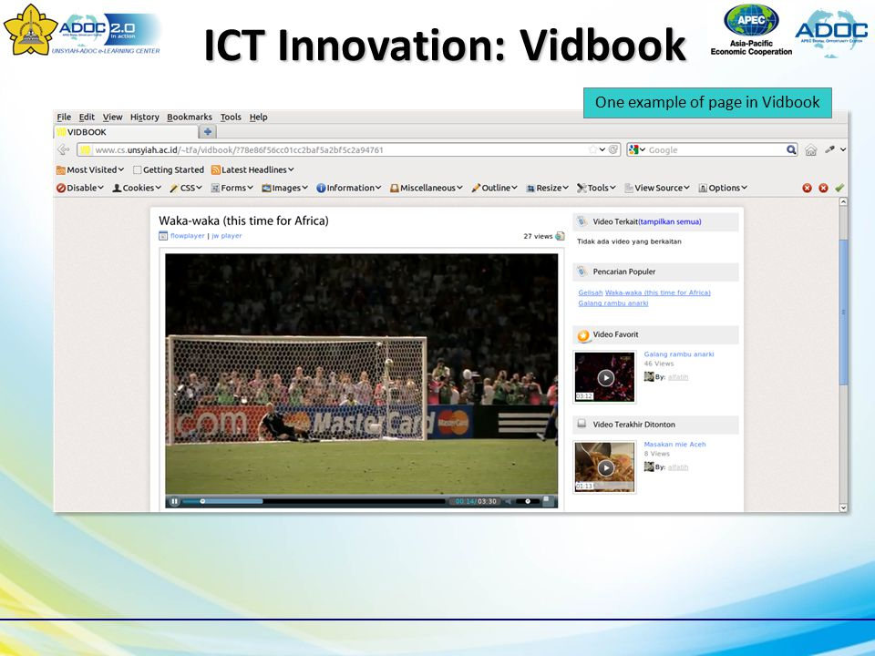 One example of page in Vidbook ICT Innovation: Vidbook