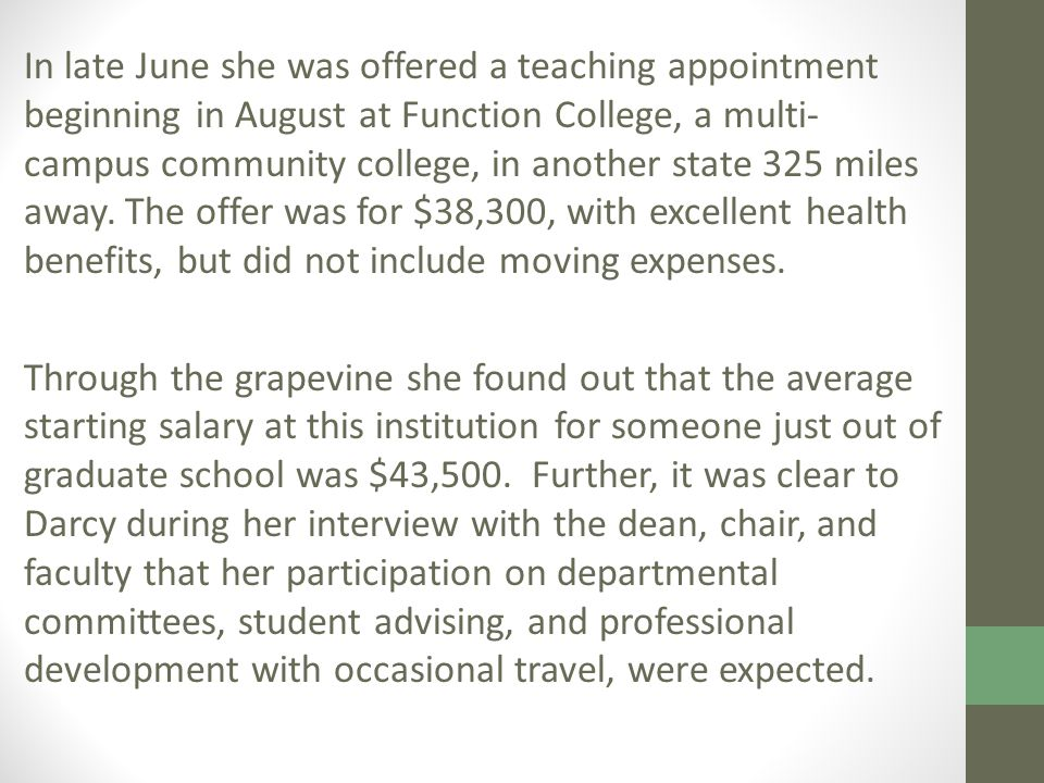 In late June she was offered a teaching appointment beginning in August at Function College, a multi- campus community college, in another state 325 miles away.