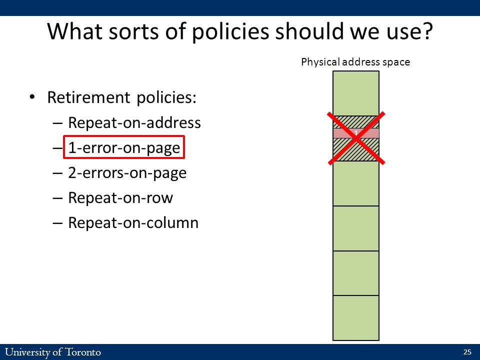 University of Toronto What sorts of policies should we use? Retirement policies: – Repeat-on-address – 1-error-on-page – 2-errors-on-page – Repeat-on-