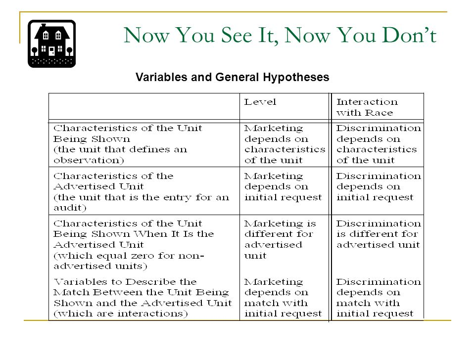 Now You See It, Now You Don't Variables and General Hypotheses