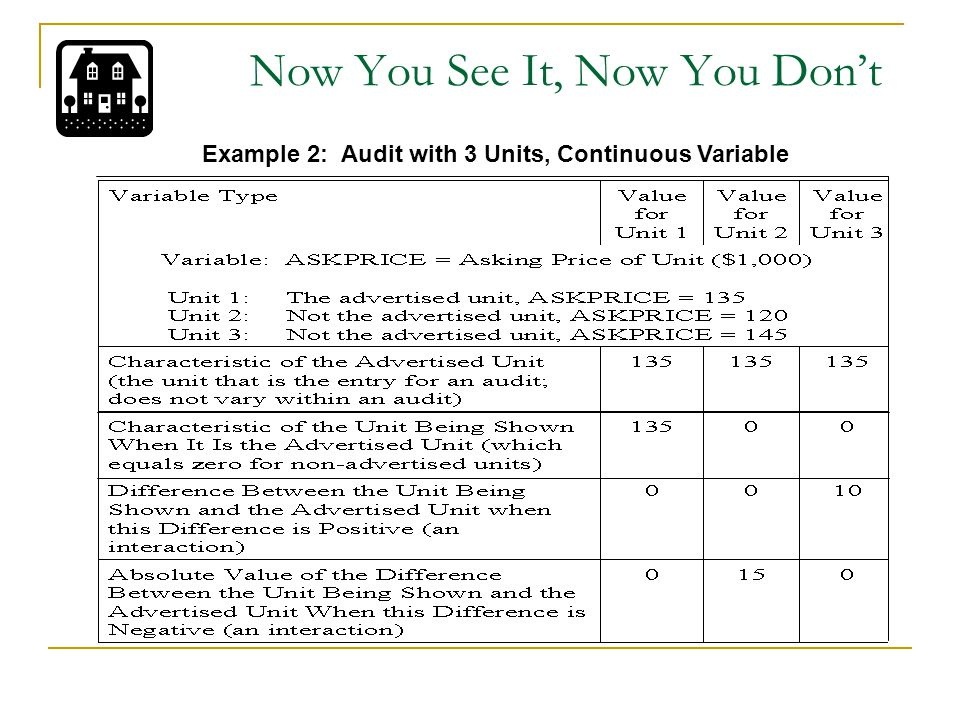 Now You See It, Now You Don't Example 2: Audit with 3 Units, Continuous Variable