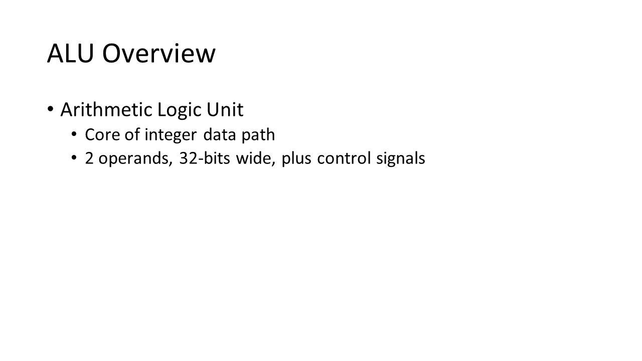 ALU Overview Arithmetic Logic Unit Core of integer data path 2 operands, 32-bits wide, plus control signals