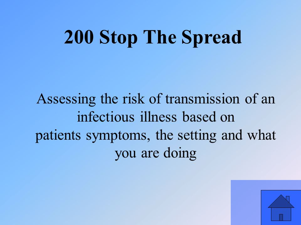 35 200 Stop The Spread Assessing the risk of transmission of an infectious illness based on patients symptoms, the setting and what you are doing