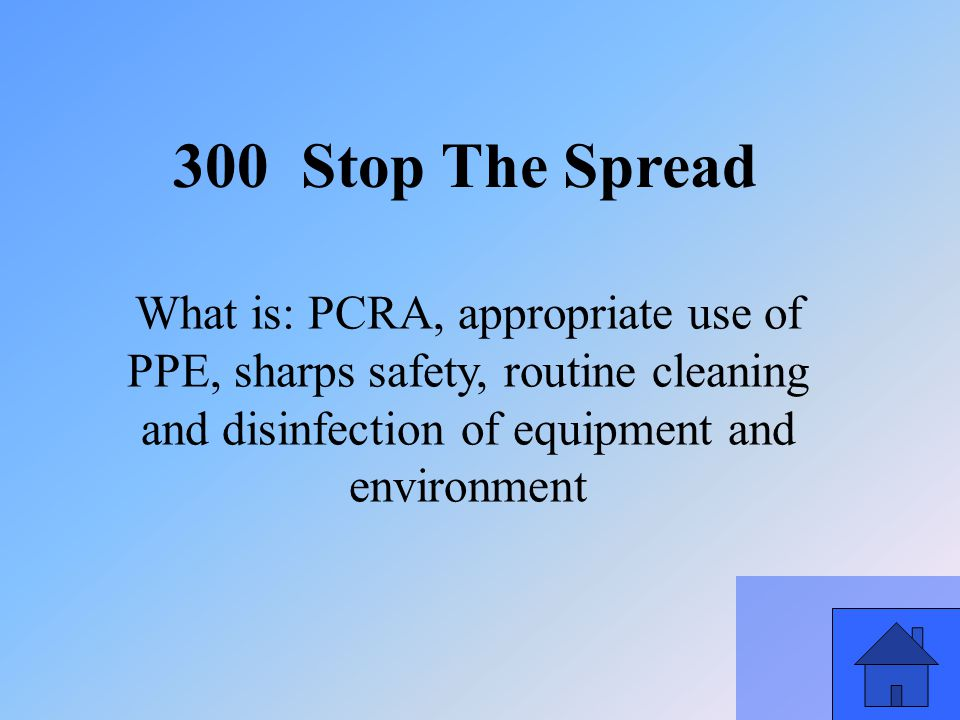 37 300 Stop The Spread What is: PCRA, appropriate use of PPE, sharps safety, routine cleaning and disinfection of equipment and environment