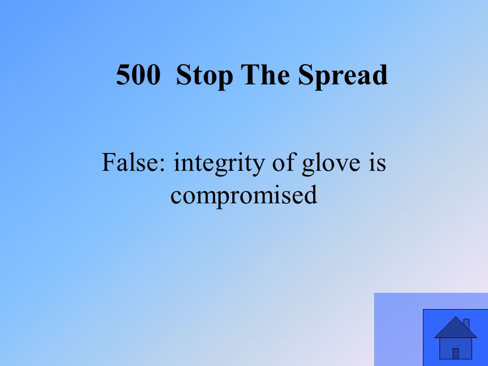 41 False: integrity of glove is compromised 500 Stop The Spread
