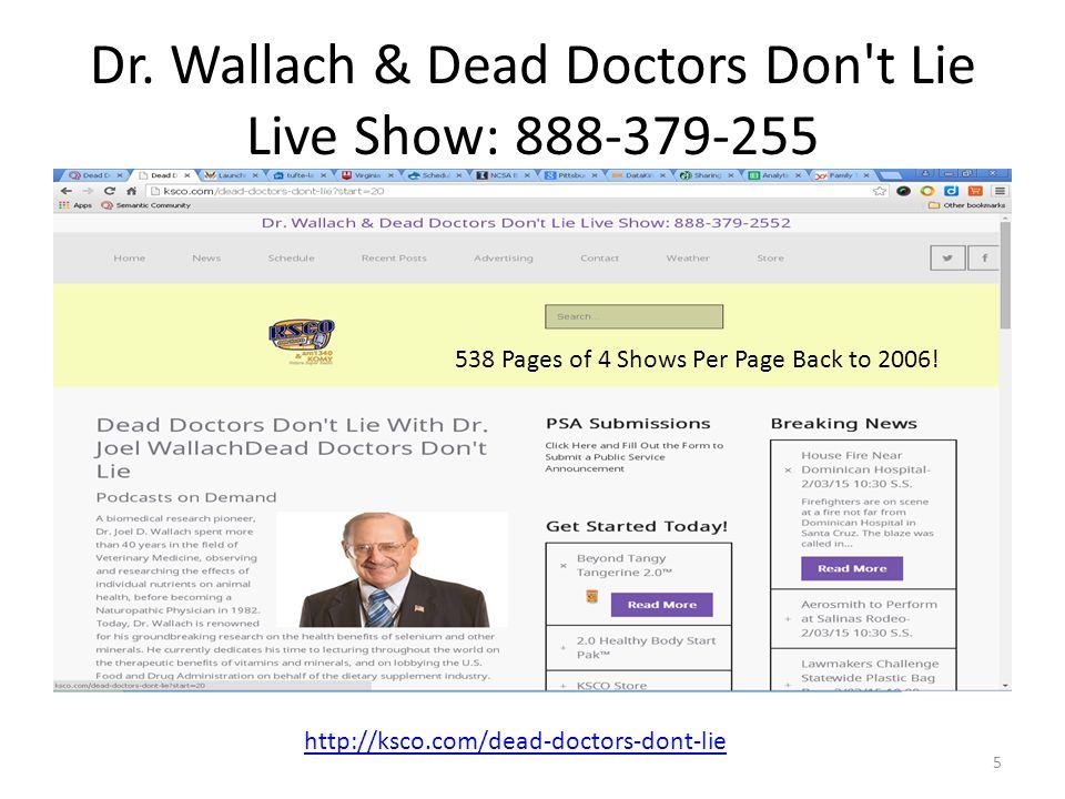 Dr. Wallach & Dead Doctors Don't Lie Live Show: 888-379-255 5 http://ksco.com/dead-doctors-dont-lie 538 Pages of 4 Shows Per Page Back to 2006!
