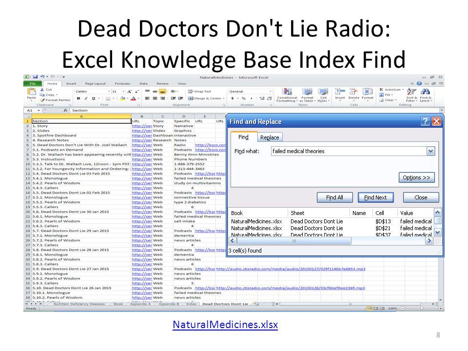 Dead Doctors Don't Lie Radio: Excel Knowledge Base Index Find 8 NaturalMedicines.xlsx
