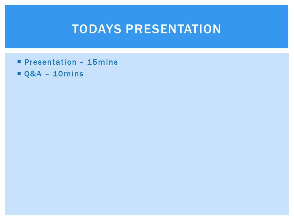  Presentation – 15mins  Q&A – 10mins TODAYS PRESENTATION