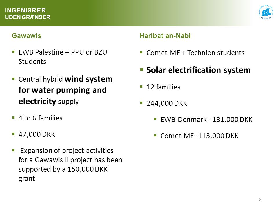 8 GawawisHaribat an-Nabi  EWB Palestine + PPU or BZU Students  Central hybrid wind system for water pumping and electricity supply  4 to 6 families  47,000 DKK  Expansion of project activities for a Gawawis II project has been supported by a 150,000 DKK grant  Comet-ME + Technion students  Solar electrification system  12 families  244,000 DKK  EWB-Denmark - 131,000 DKK  Comet-ME -113,000 DKK INGENI Ø RER UDEN GR Æ NSER