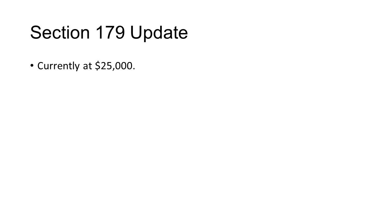 Section 179 Update Currently at $25,000.