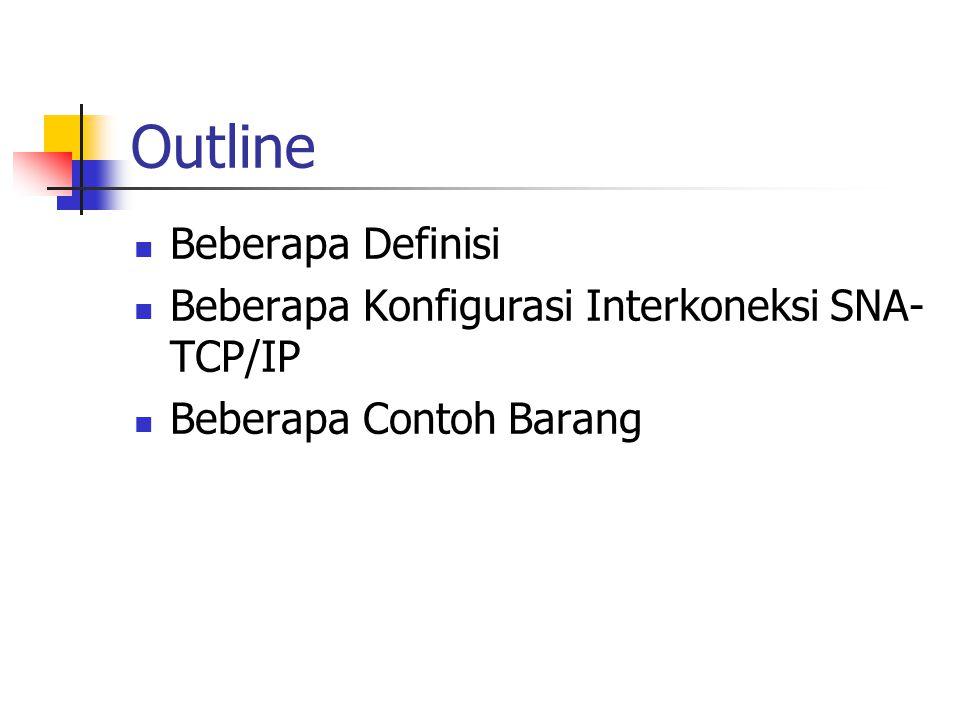 Outline Beberapa Definisi Beberapa Konfigurasi Interkoneksi SNA- TCP/IP Beberapa Contoh Barang