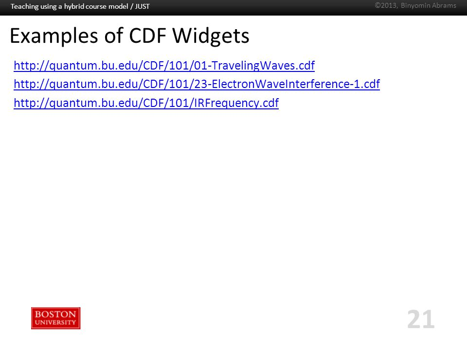 Boston University Slideshow Title Goes Here Examples of CDF Widgets http://quantum.bu.edu/CDF/101/01-TravelingWaves.cdf http://quantum.bu.edu/CDF/101/