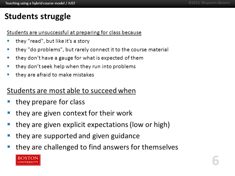 Boston University Slideshow Title Goes Here Students struggle Students are unsuccessful at preparing for class because  they