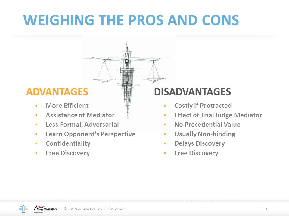 WEIGHING THE PROS AND CONS ADVANTAGES  More Efficient  Assistance of Mediator  Less Formal, Adversarial  Learn Opponent's Perspective  Confidenti