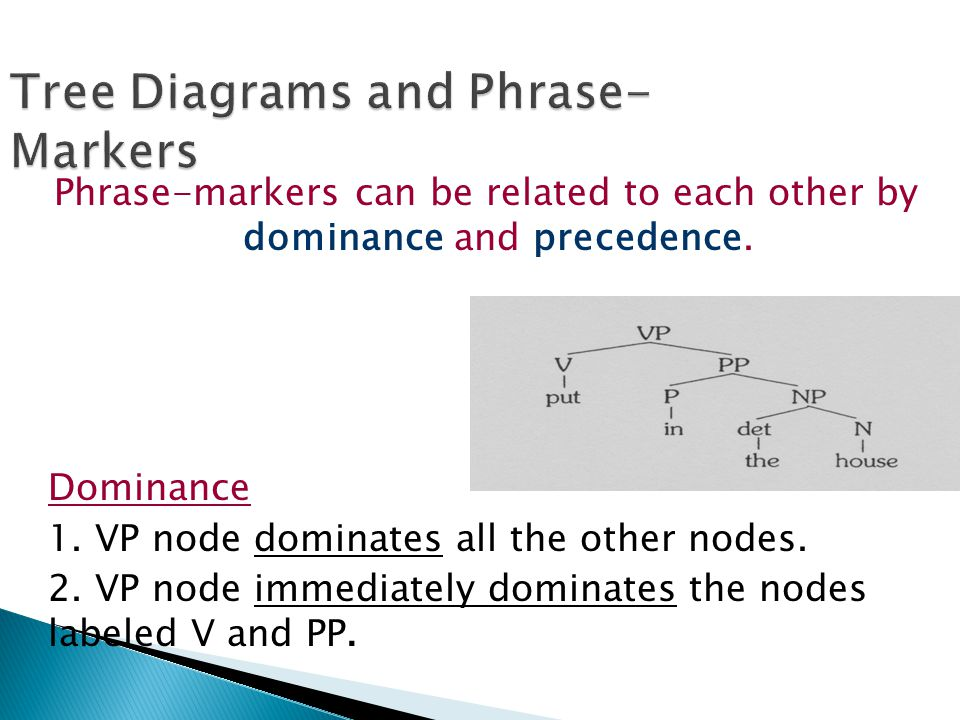 Tree Diagrams and Phrase- Markers Phrase-markers can be related to each other by dominance and precedence. Dominance 1. VP node dominates all the othe