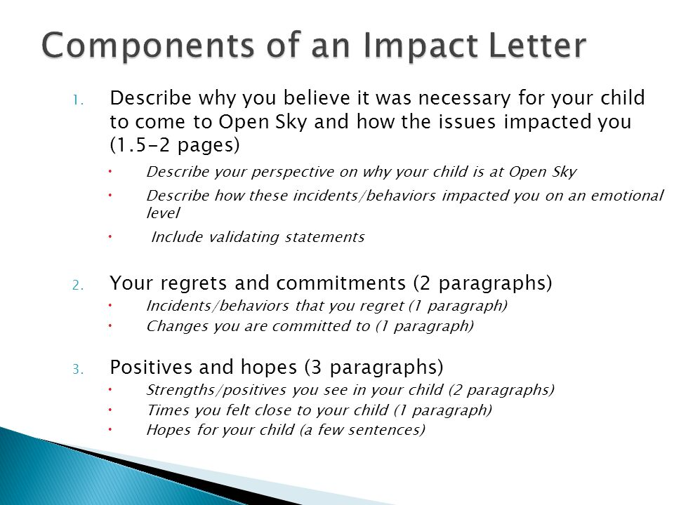 1. Describe why you believe it was necessary for your child to come to Open Sky and how the issues impacted you (1.5-2 pages)  Describe your perspect