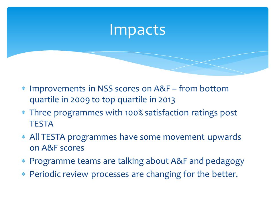  Improvements in NSS scores on A&F – from bottom quartile in 2009 to top quartile in 2013  Three programmes with 100% satisfaction ratings post TESTA  All TESTA programmes have some movement upwards on A&F scores  Programme teams are talking about A&F and pedagogy  Periodic review processes are changing for the better.