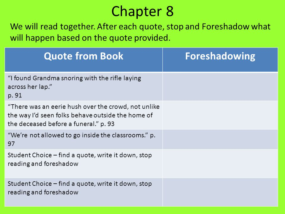 "Chapter 8 We will read together. After each quote, stop and Foreshadow what will happen based on the quote provided. Quote from BookForeshadowing ""I f"