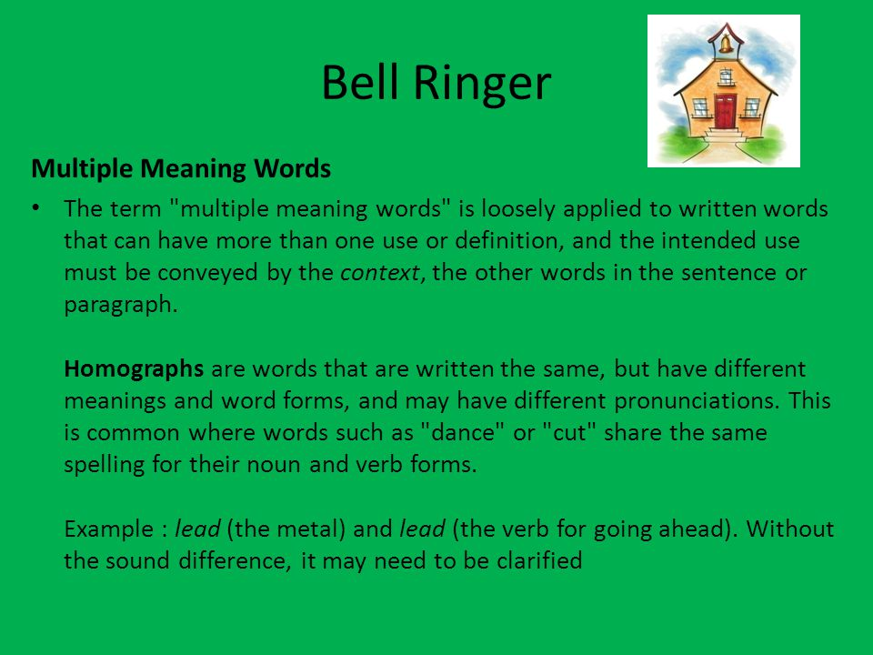 Bell Ringer Multiple Meaning Words The term