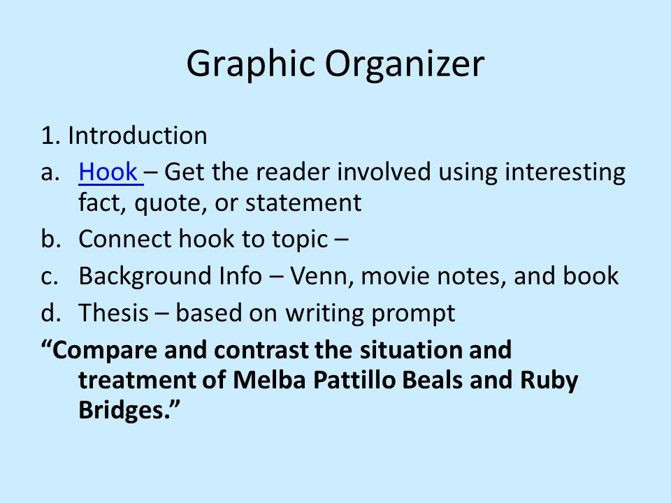 Graphic Organizer 1. Introduction a.Hook – Get the reader involved using interesting fact, quote, or statementHook b.Connect hook to topic – c.Backgro