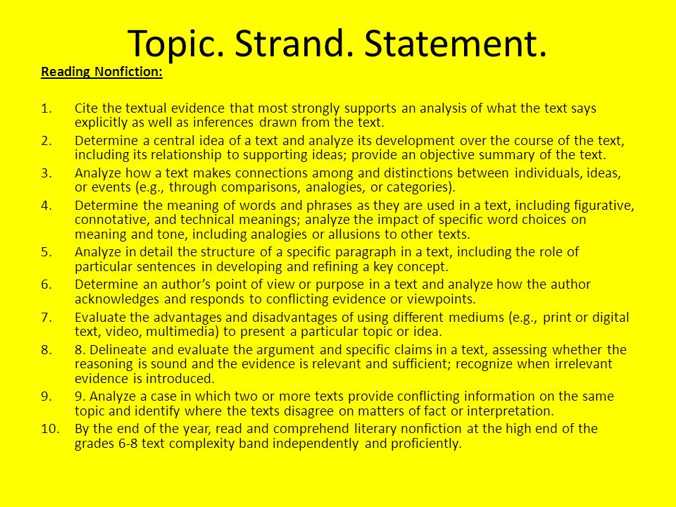 Topic. Strand. Statement. Reading Nonfiction: 1.Cite the textual evidence that most strongly supports an analysis of what the text says explicitly as
