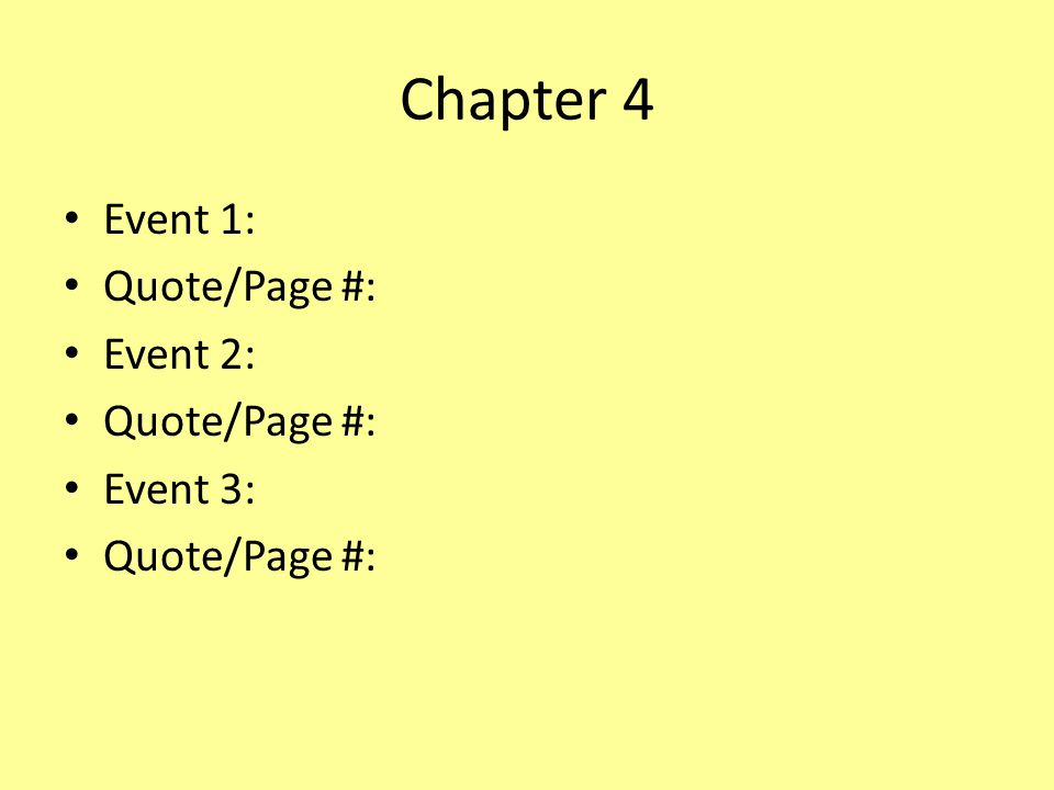 Chapter 4 Event 1: Quote/Page #: Event 2: Quote/Page #: Event 3: Quote/Page #: