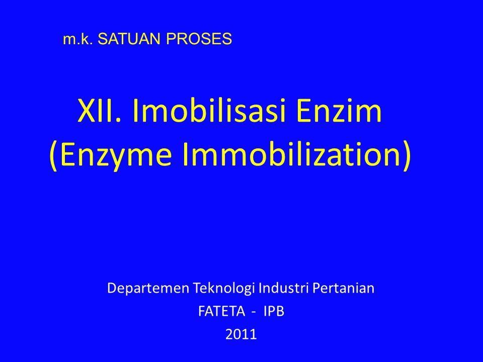 Method Immobilization Enzyme 1.