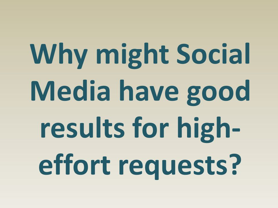 Why might Social Media have good results for high- effort requests