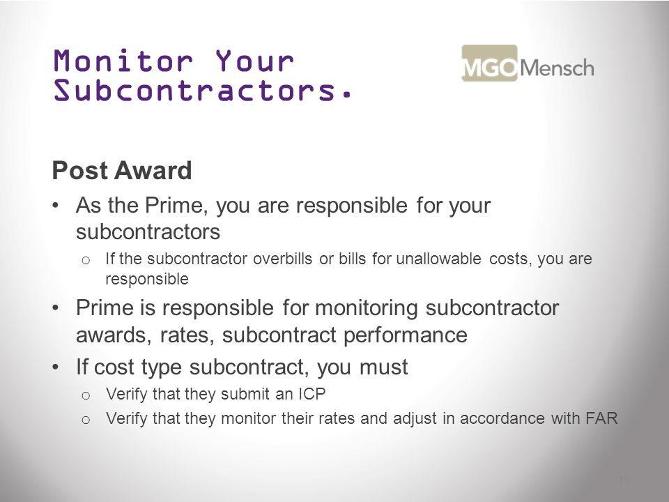 Monitor Your Subcontractors.