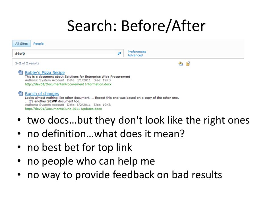 Search: Before/After two docs…but they don t look like the right ones no definition…what does it mean.