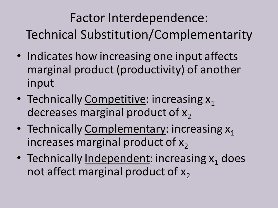 Factor Interdependence: Technical Substitution/Complementarity Indicates how increasing one input affects marginal product (productivity) of another input Technically Competitive: increasing x 1 decreases marginal product of x 2 Technically Complementary: increasing x 1 increases marginal product of x 2 Technically Independent: increasing x 1 does not affect marginal product of x 2