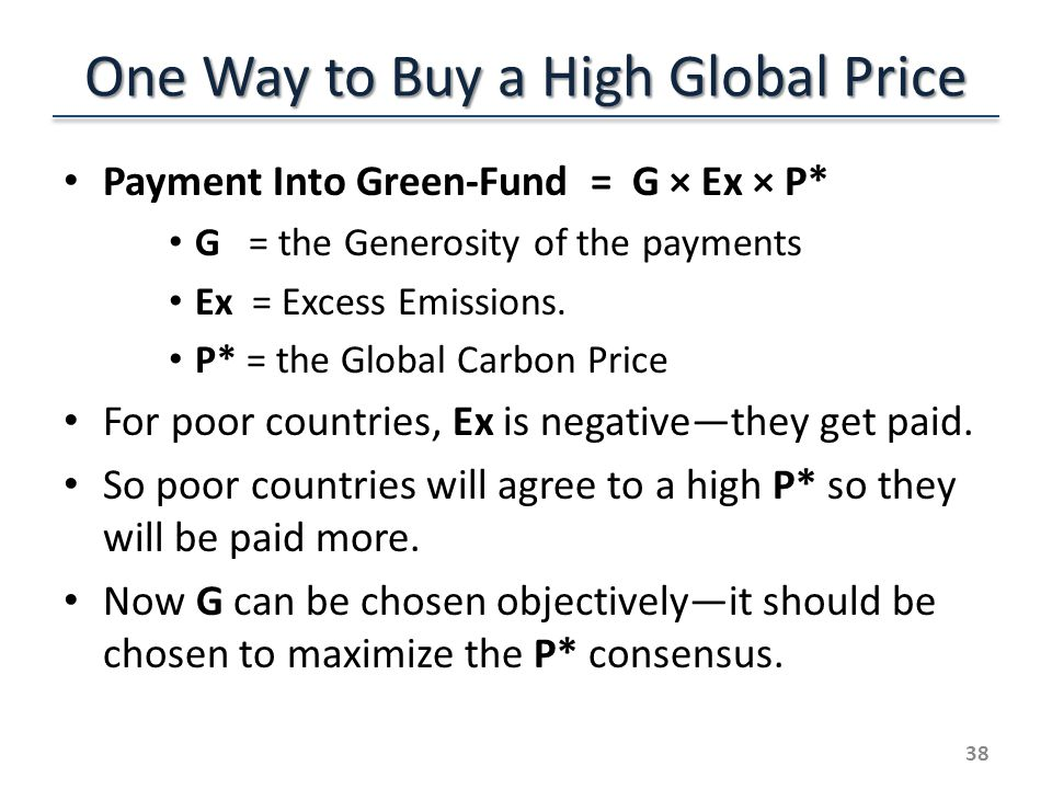 One Way to Buy a High Global Price Payment Into Green-Fund = G × Ex × P* G = the Generosity of the payments Ex = Excess Emissions.
