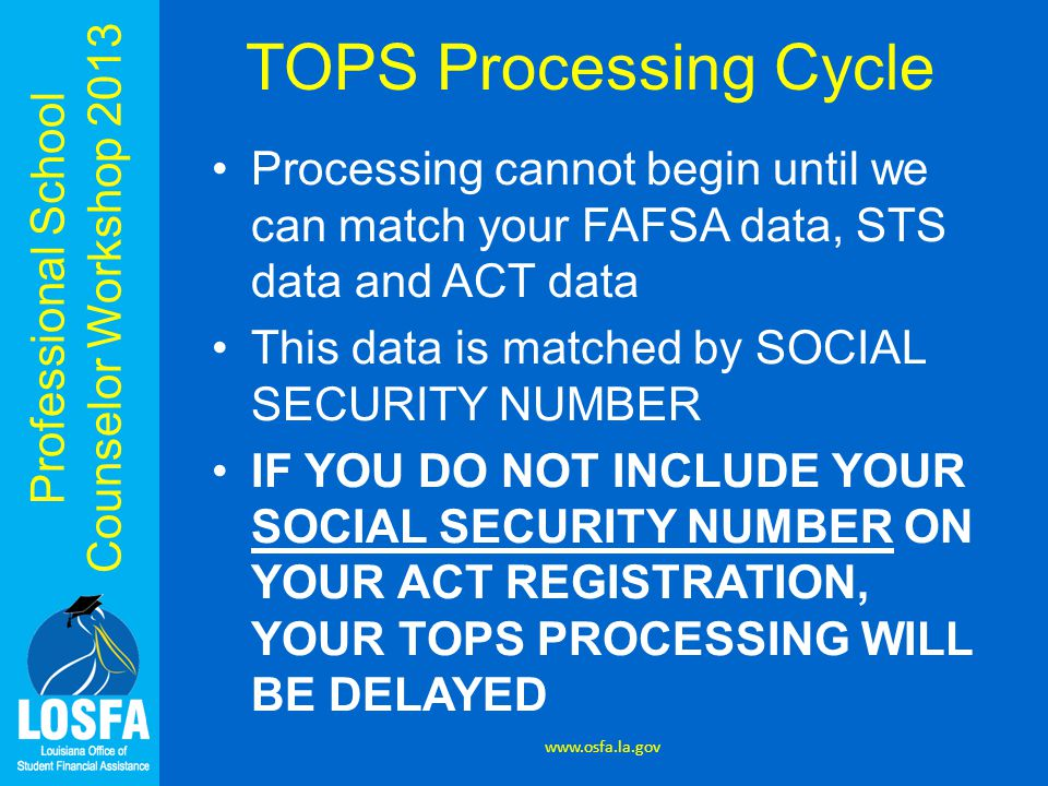Professional School Counselor Workshop 2013 TOPS Processing Cycle Processing cannot begin until we can match your FAFSA data, STS data and ACT data Th