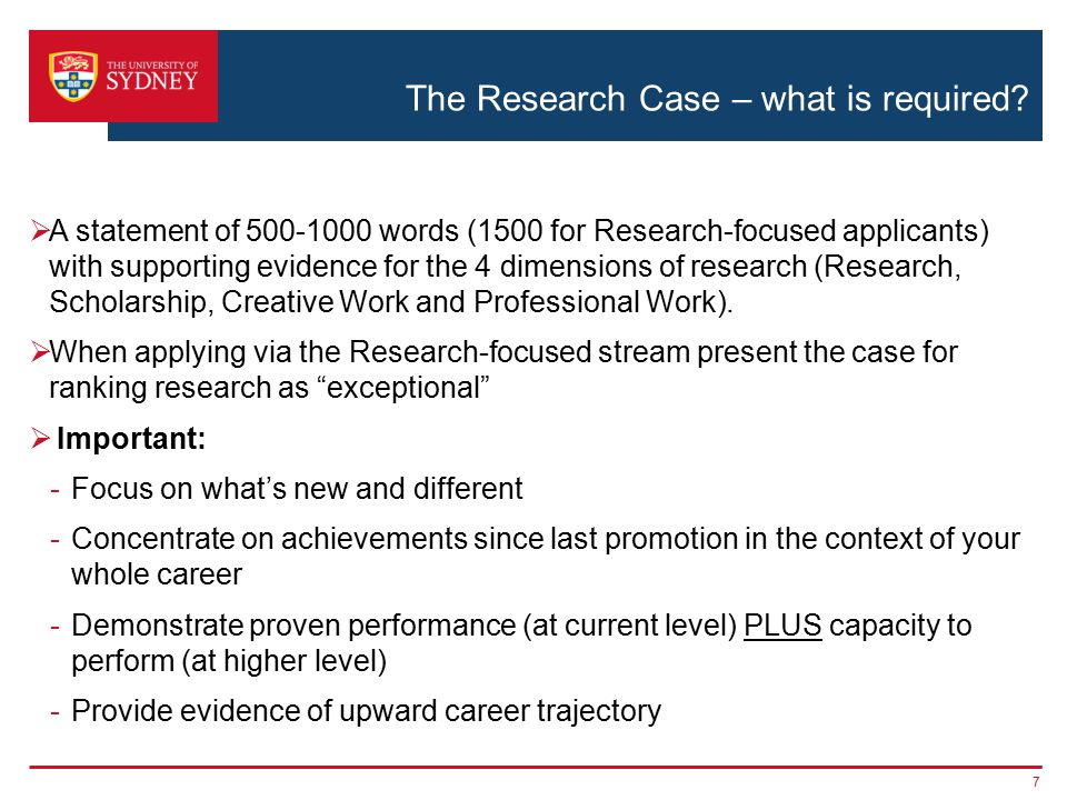 The Research Case – what is required.