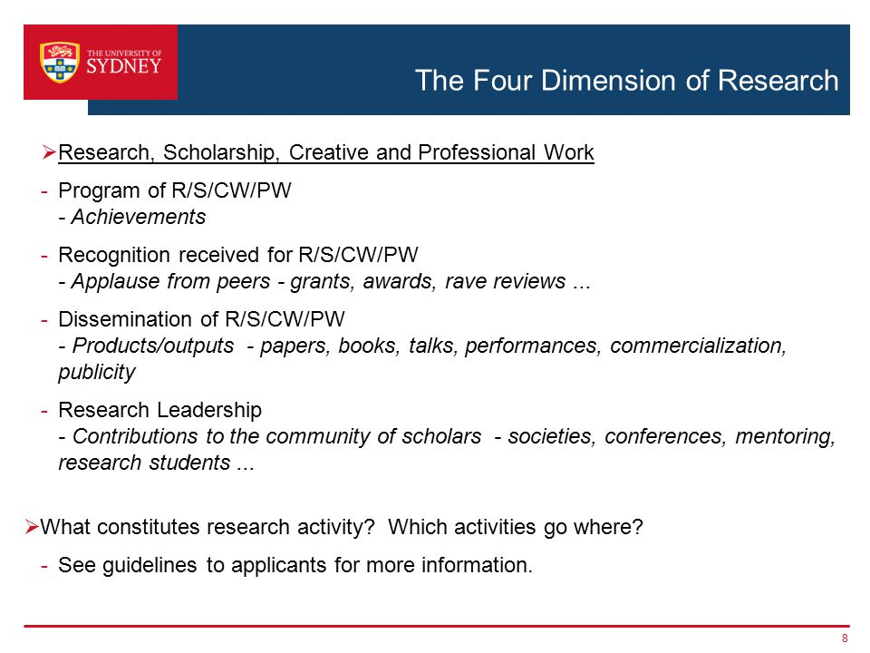 The Four Dimension of Research  Research, Scholarship, Creative and Professional Work -Program of R/S/CW/PW - Achievements -Recognition received for R/S/CW/PW - Applause from peers - grants, awards, rave reviews...