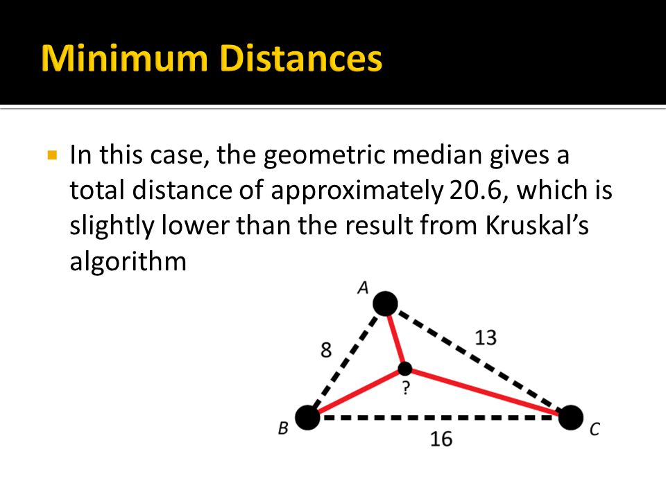  In this case, the geometric median gives a total distance of approximately 20.6, which is slightly lower than the result from Kruskal's algorithm