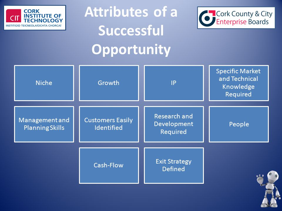 Attributes of a Successful Opportunity NicheGrowthIP Specific Market and Technical Knowledge Required Management and Planning Skills Customers Easily