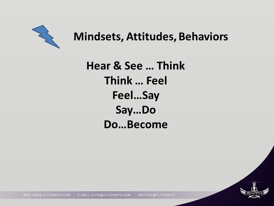 Mindsets, Attitudes, Behaviors Hear & See … Think Think … Feel Feel…Say Say…Do Do…Become