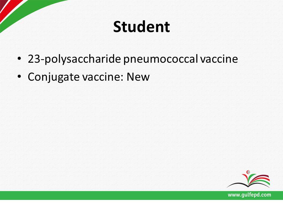 Student 23-polysaccharide pneumococcal vaccine Conjugate vaccine: New