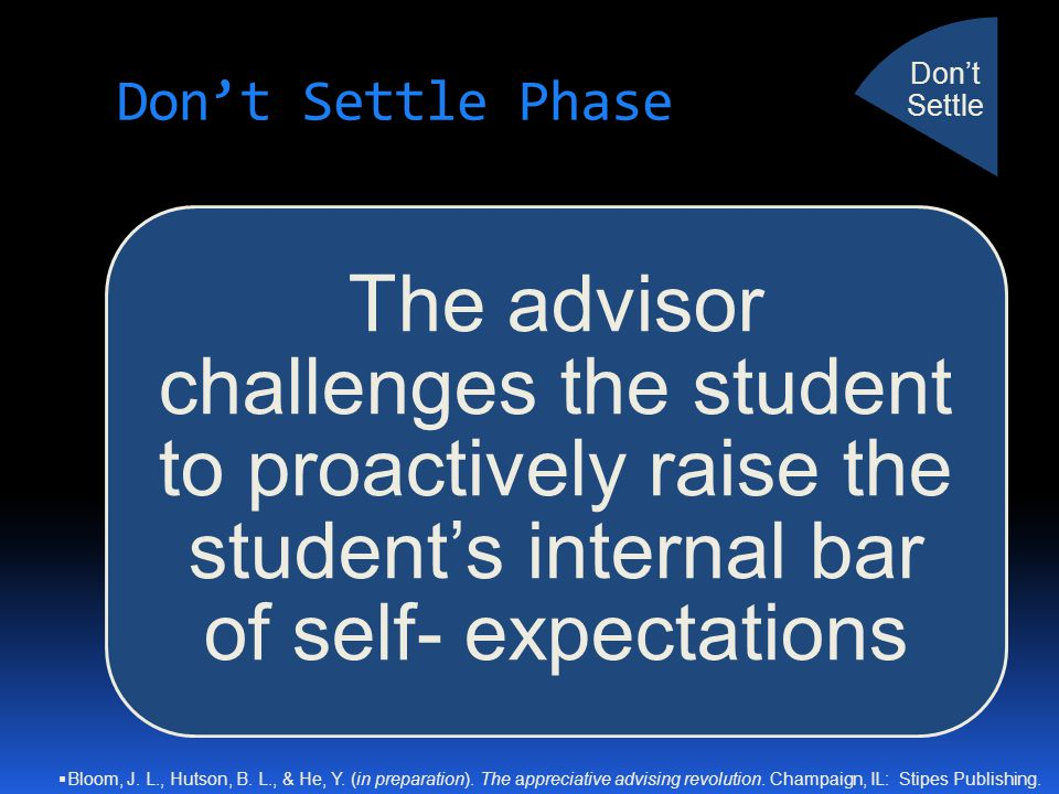 Don't Settle Phase The advisor challenges the student to proactively raise the student's internal bar of self- expectations Don't Settle  Bloom, J. L