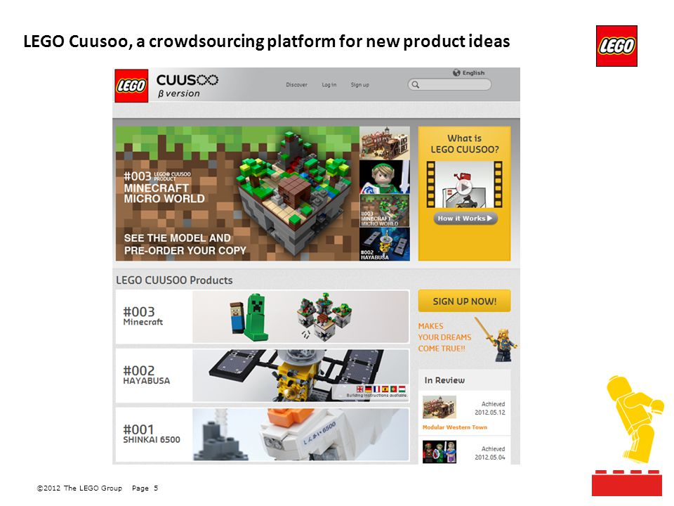 ©2012 The LEGO GroupPage 5 LEGO Cuusoo, a crowdsourcing platform for new product ideas