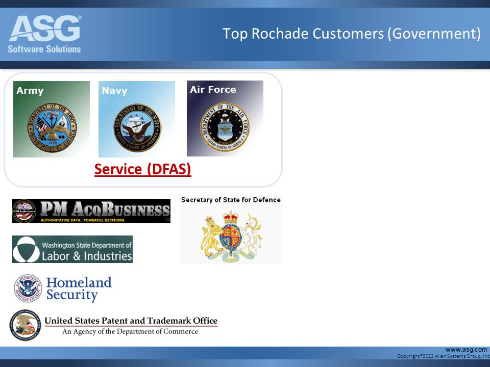 Copyright®2012 Allen Systems Group, Inc. www.asg.com Defense Finance and Accounting Service (DFAS) Top Rochade Customers (Government)