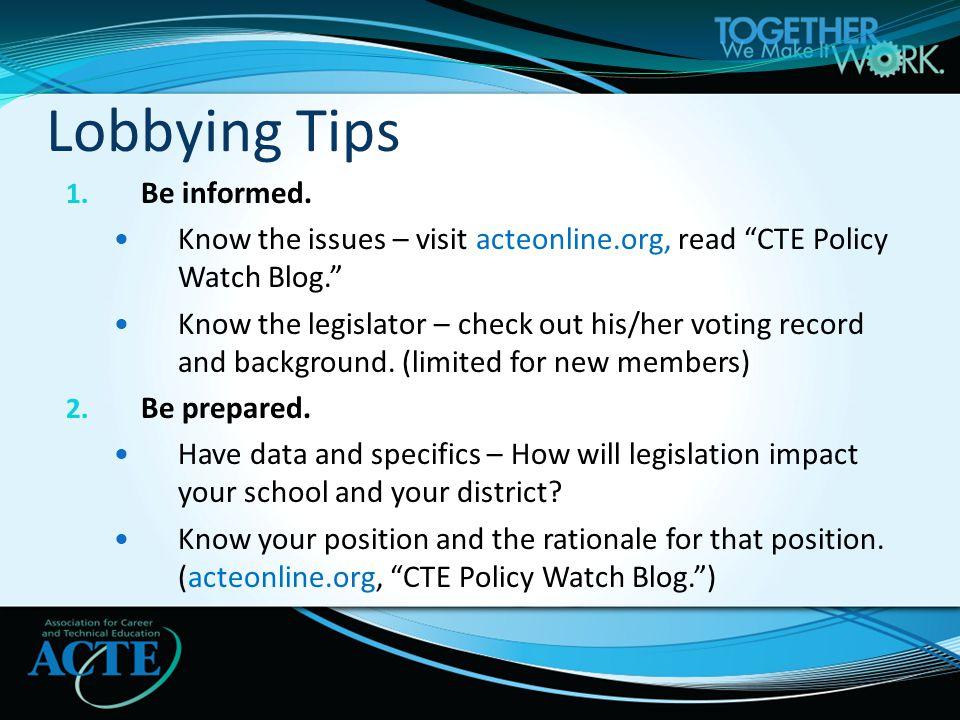 1. Be informed.