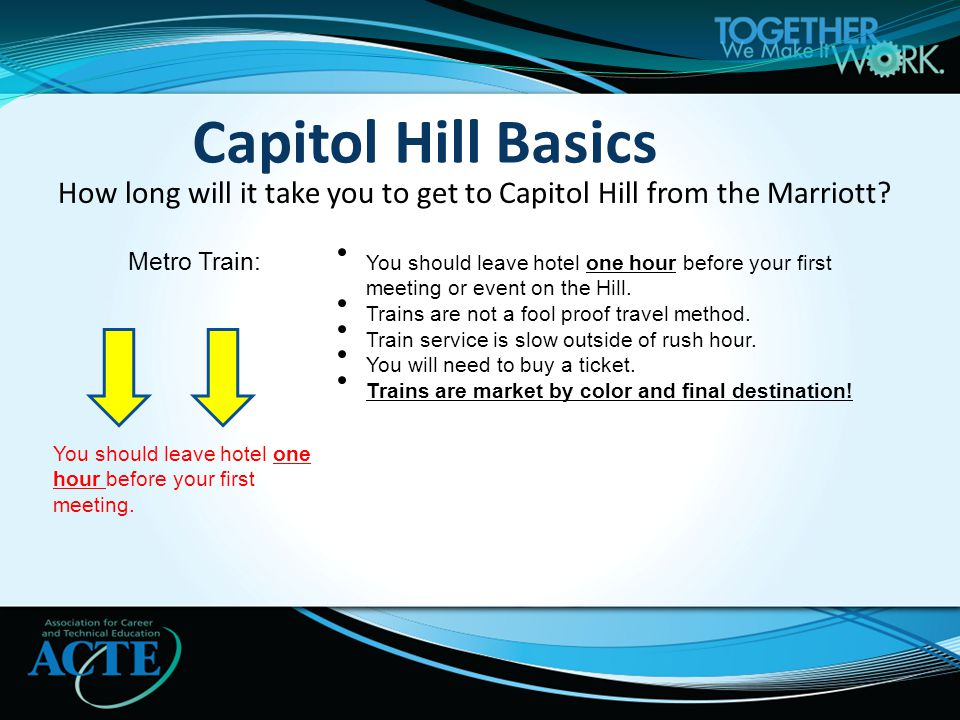 Capitol Hill Basics How long will it take you to get to Capitol Hill from the Marriott.