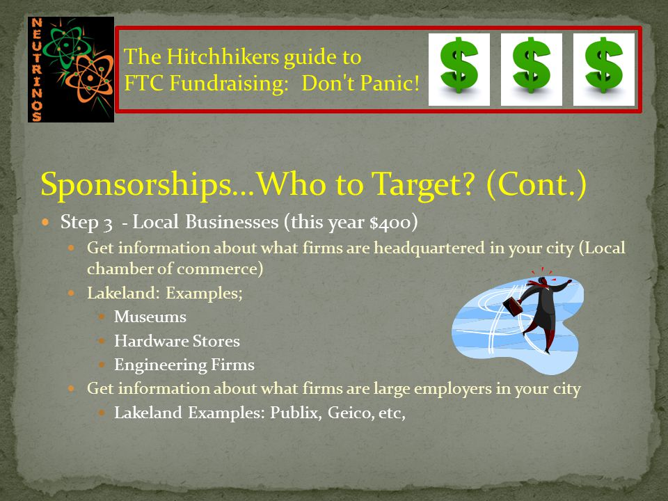 Sponsorships…Who to Target? Step 1: Companies that Parents Work for Extremely easy to target (Last Year; $4,125) Step 2: Friends and Neighbors and com