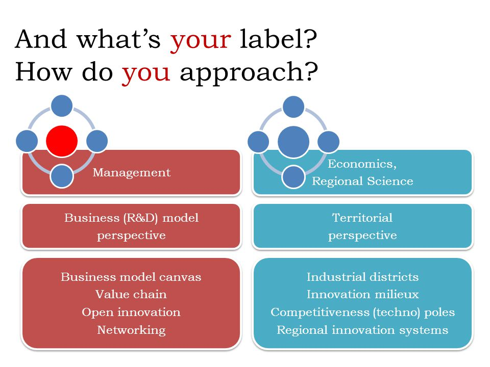 And what's your label? How do you approach? Business (R&D) model perspective Business (R&D) model perspective Territorial perspective Territorial pers